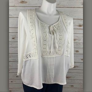 Solitaire White Crochet Detail Blouse Top Sz 2X